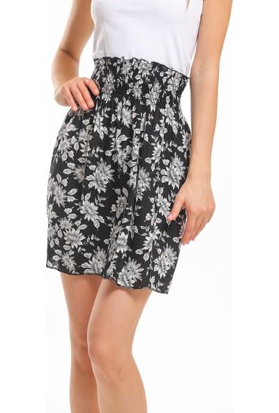 Bayamoda Siyah Beyaz Çiçekli Bel Büzgülü Yazlık Mini Etek BYM-143