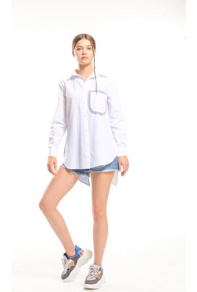 Bayamoda Kadın Sırtı Pencereli Pamuk Gömlek BYM-10626