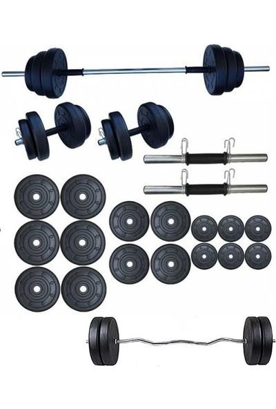 Ser Spor 85 kg Z Barlı Halter Seti Dambıl Seti + El Yayı