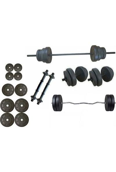 Ser Spor 55 kg Vidalı Halter Dambıl + Z Bar Seti