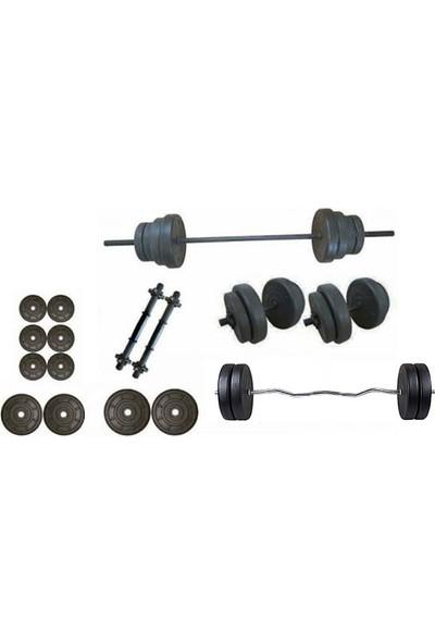 Ser Spor 45 kg Vidalı Halter Dambıl +Z Bar Seti