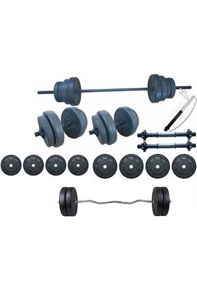 Ser Spor 35 kg Vidalı Halter Dambıl +Z Bar Seti
