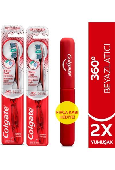 Colgate 360 Gelişmiş Optik Beyaz Yumuşak Beyazlatıcı Diş Fırçası x 2 Adet + Diş Fırçası Kabı
