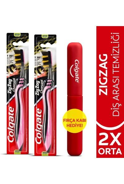 Colgate Zigzag Charcoal Diş Arası Temizliği Orta Diş Fırçası x 2 Adet + Diş Fırçası Kabı