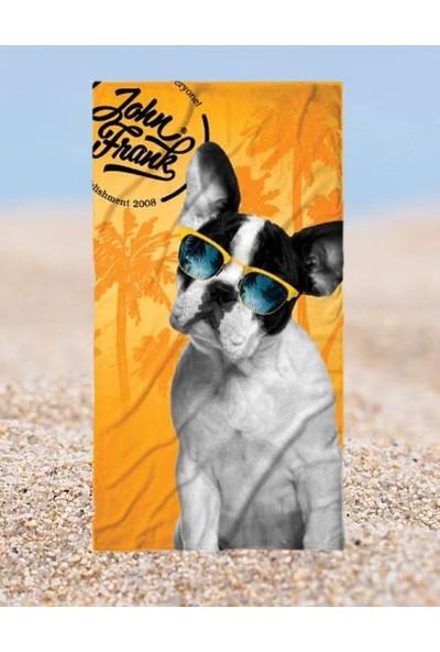 John Frank Plaj Havlusu French Bulldog Beach Towel