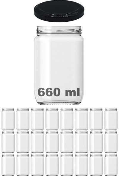 Afracam 660 ml Metal Siyah Kapaklı Şeffaf Cam Kavanoz Konserve 24 Adet