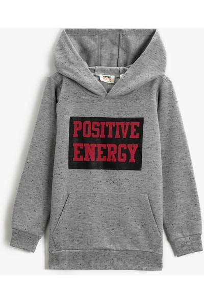 Koton Kids Kapüşonlu Sweatshirt Sloganlı