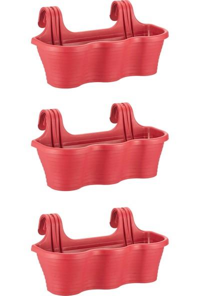 Minia Bahçe Tom5 Askılı Balkon Saksı 3'lü 53CM 10 Litre Kırmızı