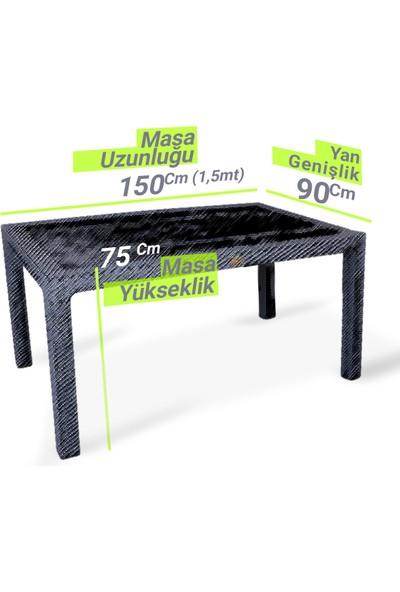Novussi Liverno V2 6 Kişilik 90 x 150 cm Camlı Rattan Bahçe Balkon Masa Takımı Yeni Üretim Bahçe Mobilyası