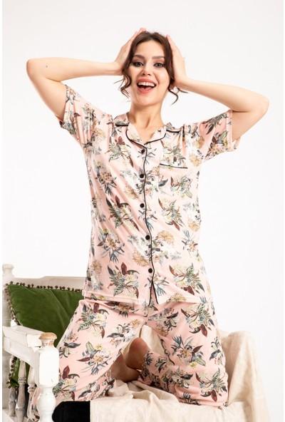 Tampap kadın Gömlek Yaka Pijama Takımı Desenli Tampap