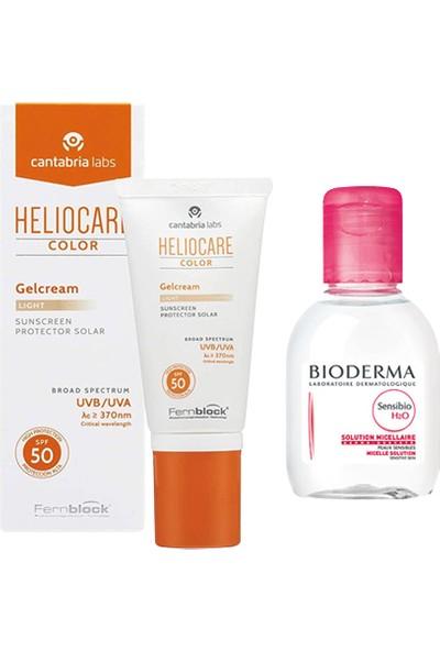 Heliocare Color Gelcream Light Renkli Güneş Kremi Spf 50 50 ml + Bioderma Sensibio H2O 100 ml