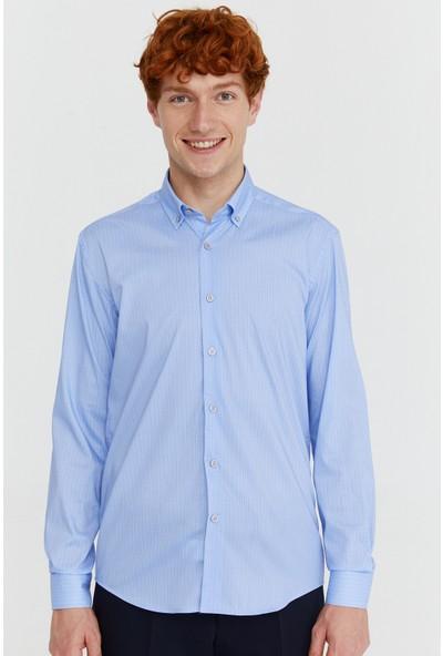 Morven Baskılı Slimfit Gömlek Mavi