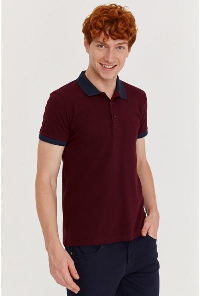 Morven Basic Polo Yaka T-Shirt Koyu Bordo