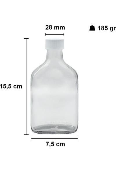 Afracam Cold Brew Şeffaf 200 ml Sızdırmaz Beyaz Plastik Kapaklı Boş Cam Şişe (Soğuk Kahve)
