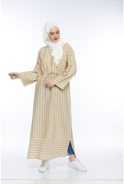 My Veil Uzun Bej Çizgili Tesettür Elbise