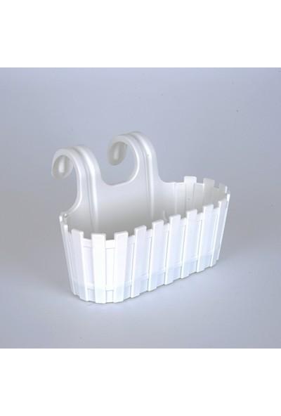 İş sevenler Akasya Çift Askılı Beyaz Saksı, 30 cm Renkli Çit Balkon Saksı