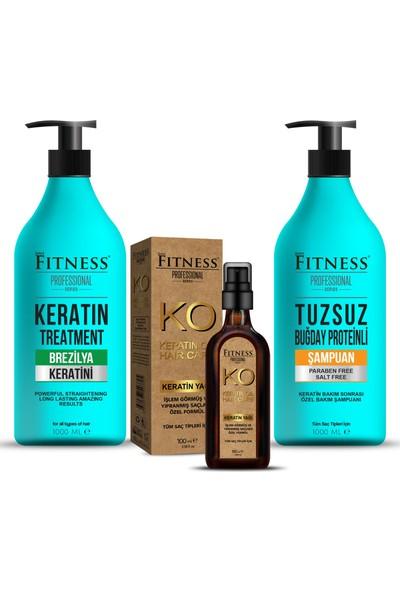 Sam Fitness Professional Saç Düzleştirici Keratin Bakımı + Tuzsuz Şampuan + Keratin Yağı