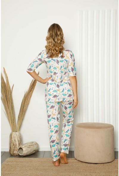 Akbeniz Kadın %100 Pamuk Penye Kısa Kol Pijama Takım 3398