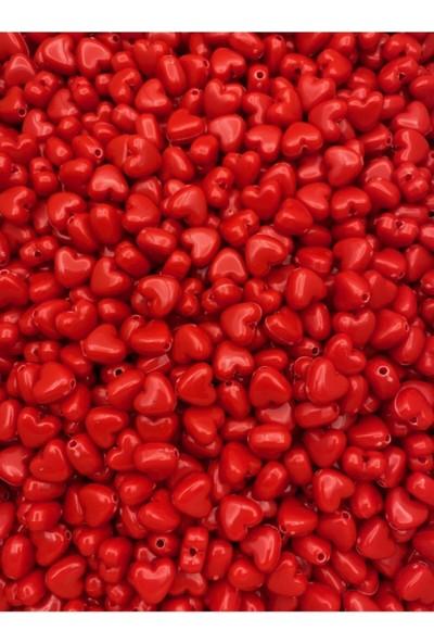 Hedef Bijuteri 10MM Kırmızı Renk Kalp Model Plastik Boncuk,hobi Takı Yapım Boncuğu (25GR,~60 Adet)