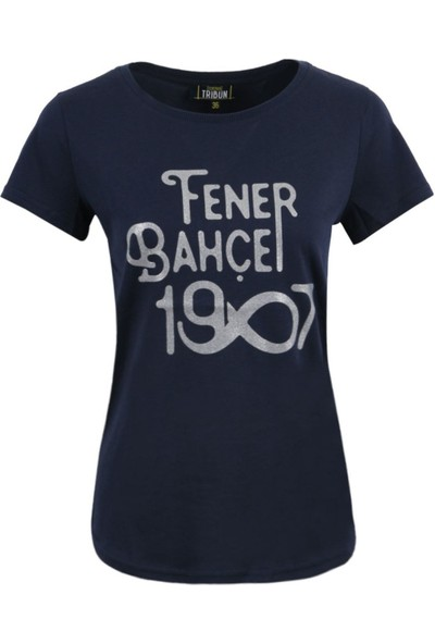 Fenerbahçe Lisanslı Kadın T-Shirt Lacivert Özel Hediyelik Ahşap Kutulu