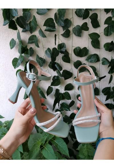 Cudo Kadın Yeni Sezon Mint Yeşili Taşlı Tek Bant Ayakkabı