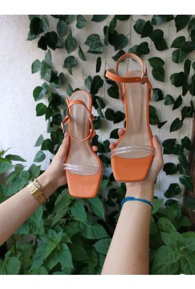 Cudo Kadın Yeni Sezon Turuncu Tek Bant Topuklu Ayakkabı