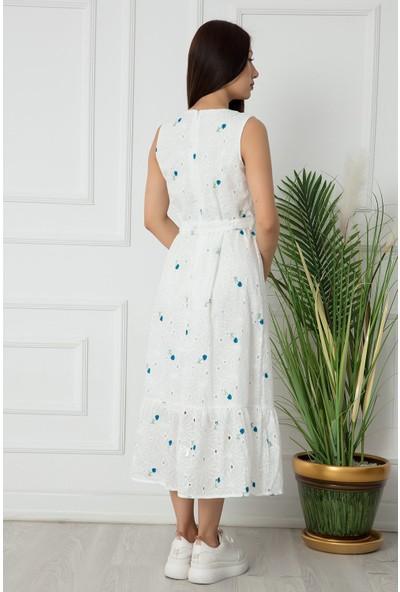 Kalopya Bayan Brodeli Nakışlı Elbise 1452