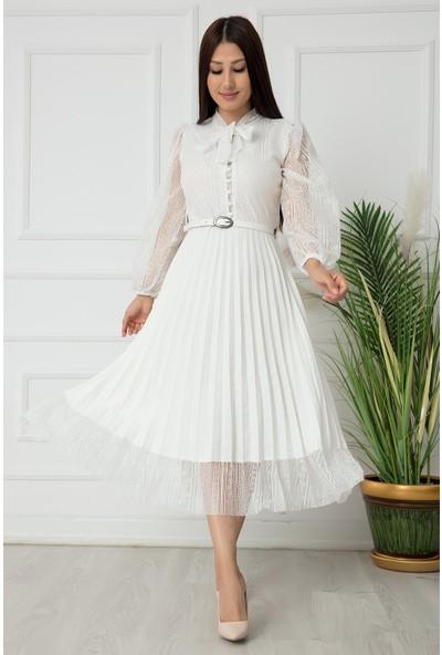 Kalopya Bayan Pliseli Fransız Elbise 22-138