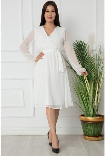 Kalopya Bayan Kısa Düz Şifon Elbise 22-100
