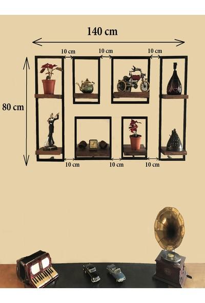 Vital Dekorasyon Metal Çerçeveli Masif 6'lı Takım Duvar Rafı (A)