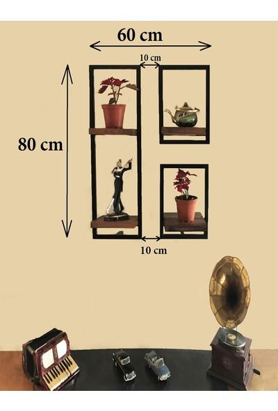 Vital Dekorasyon Metal Çerçeveli Masif 3'lü Takım Duvar Rafı (B)
