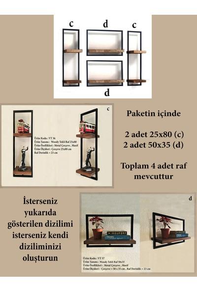 Vital Dekorasyon Metal Çerçeveli Masif 4'lü Takım Duvar Rafı (A)
