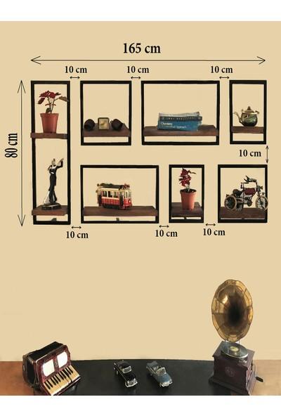 Vital Dekorasyon Metal Çerçeveli Masif 7'li Takım Duvar Rafı (C)