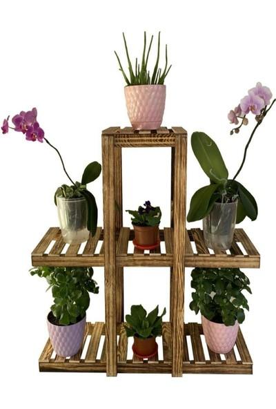 Ahenk Ahenkmoda Ahşap Dekoratif Çiçeklik Bahçe/balkon Saksı Standı 3 Katlı 7 Bölmeli