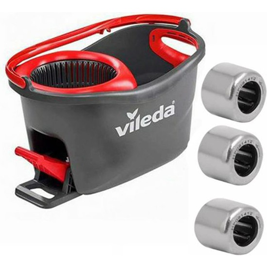 Photo Print Vileda Turbo Pedallı Cambaz Temizlik Kova Seti Tamir Rulmanı 8 Köşeli 3 Adet