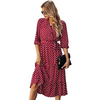 Gogoo Puantiyeli Yazlık Elbise-Kırmızı