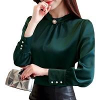 Luisa Moretti Uzun Kollu Şifon Kadın Bluz-Yeşil