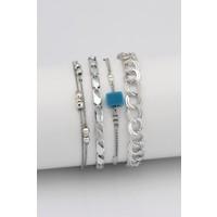Sortie Accessories Mavi Boncuklu 4'lü Kombin Bileklik 004