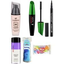 Gabrini Fondöten 3ın1-No:01 + Liquid Eyeliner Pen Waterproof + Newwell Bitkisel Mascara + Göz Makyaj Temiz