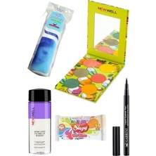 Gabrini Liquid Eyeliner Pen Waterproof + Newwell Delicious Gözfar Paleti 02 + Göz Makyaj Temiz