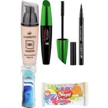 Gabrini Fondöten 3ın1-No:02 + Liquid Eyeliner Pen Waterproof + Newwell Bio-Herbal Bitkisel Mascara - 7in1
