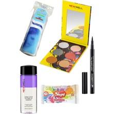 Gabrini Liquid Eyeliner Pen Waterproof + Newwell Autumn 6'lı Göz Farı Paleti 02+ Göz Makyaj Temiz