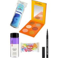 Gabrini Liquid Eyeliner Pen Waterproof + Newwell Autumn 6'lı Göz Farı Paleti 04 + Göz Makyaj Temiz