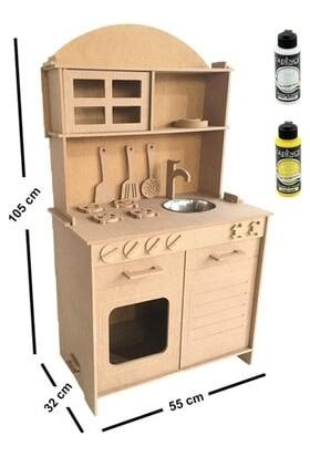 Özka Hobi Ahşap Ahşap Mdf 2 Kapaklı Montessori Eğitici Oyuncak Mutfak Seti + 2 Adet Boya ÖMS01