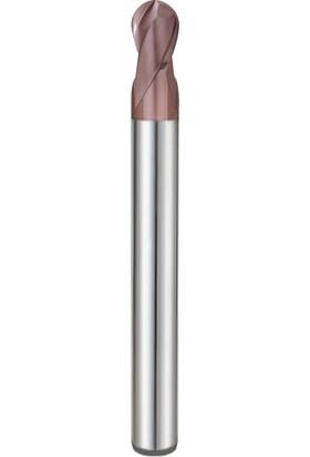 Pro-X 2 Ağızlı, Uzun, Küre Karbür Parmak Freze PPF-22050-L - R 2.5 -Ø5 mm