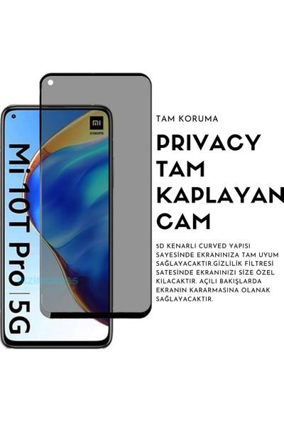 Wowlett Xiaomi Mi 10T Pro Kılıf Kamera Korumalı Sürgü Kapak Kılıf ve Privacy Hayalet 5d Ekran Koruyucu Set