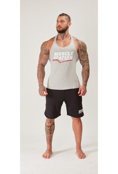 Musclestation Toughman Tank Gri Workout Fitness Atlet