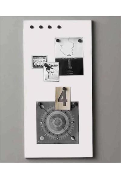 Dünya Magnet Mıknatıslı Pano Beyaz Dekoratif Metal Magnet Panosu 75 x 35 cm