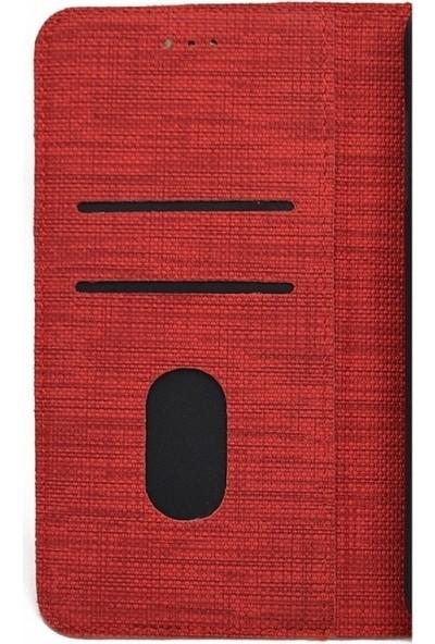 Teleplus Xiaomi Redmi 9 Kılıf Kumaş Spor Kartlıklı Standlı Cüzdan Kırmızı