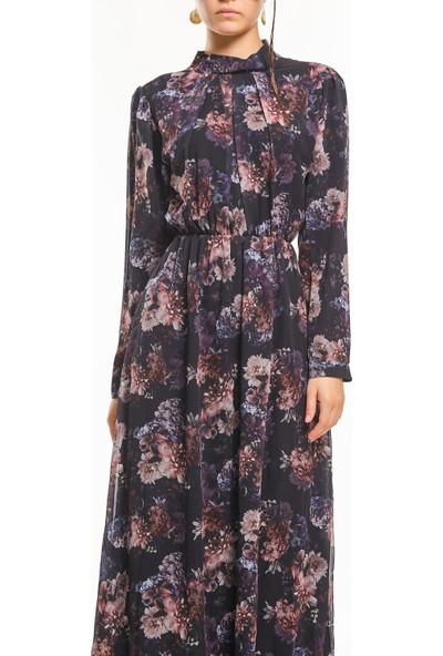 Bayamoda Çiçek Desenli Kemerli Siyah Uzun Elbise BYMD-3108